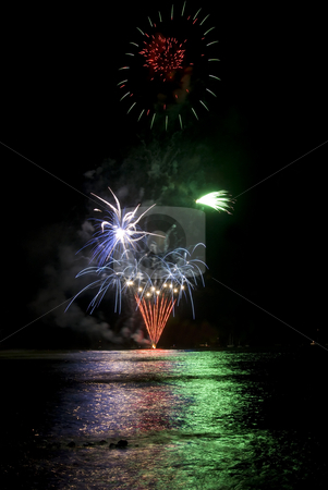 Lahaina Fireworks stock photo, Fireworks over Lahaina Harbor, Maui, Hawaii on the 4th of July. by Mike Dawson