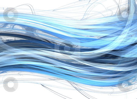 Blue marine waves stock photo, Fractal abstraction of blue marine waves by Natalia Macheda
