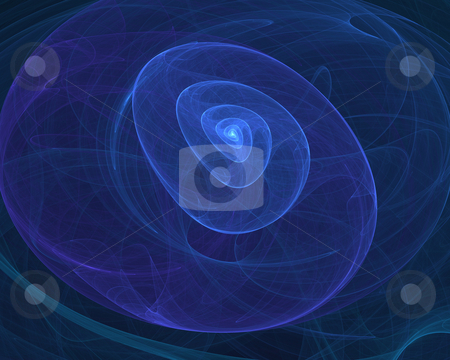 Blue shell stock photo, Fractal illustration of 3D shell by Natalia Macheda