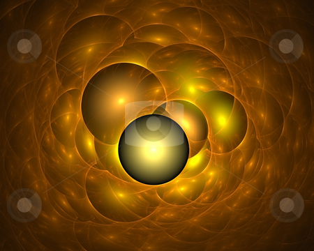 Golden soap bubbles stock photo, Fractal illustration of glowing golden soap bubbles by Natalia Macheda