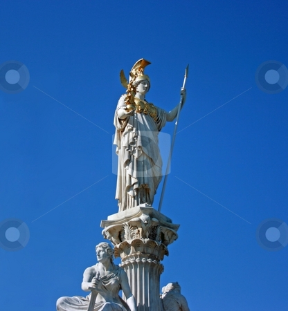 Athena statue stock photo, White marble statue of Athena, Greek goddess of war, in Vienna. Isolated over blue sky by Natalia Macheda