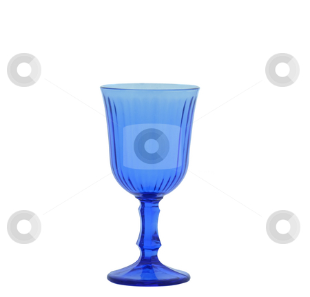 Blue wineglass stock photo, Blue wineglass with stem isolated over white by Natalia Macheda