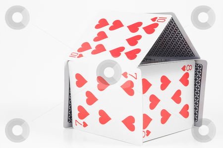 House of Cards stock photo, A house made out of playing cards. by Robert Byron