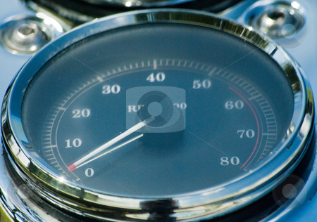 Motorcycle Tachometer stock photo, Close up of motorcycle tachometer by Robert Cabrera