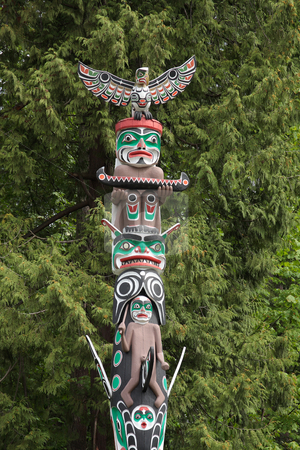 Totem Pole stock photo, Historic totem pole in Vancouver BC Canada. by Steve Stedman