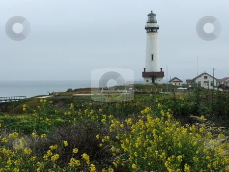 Pigeon Point Lighthouse stock photo, Even on a cloudy day the Pigeon Point Lighthouse is a popular tourist destination. This veiw is from a pull-off on Highway 1 a couple miles south of the lighthouse.   Located along the central California coast 50 miles south of San Francisco the 136 year old lighthouse is perched on a cliff overlooking the Pacific coastline.  It is one of the tallest in the U.S. at 115 feet in height. by Dennis Thomsen