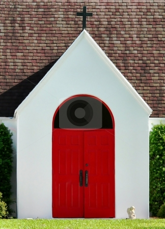 Red Door stock photo, Red door entry to a white church by Perry Correll