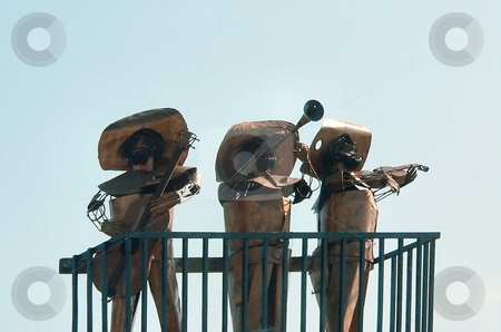 Mariachi statues stock photo, Outdoor bronze statue of mariachi band by Perry Correll