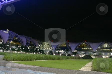 Suvarnabhumi garden stock photo, White birds night shut at bangkok new airport suvarnabhumi by EVANGELOS THOMAIDIS