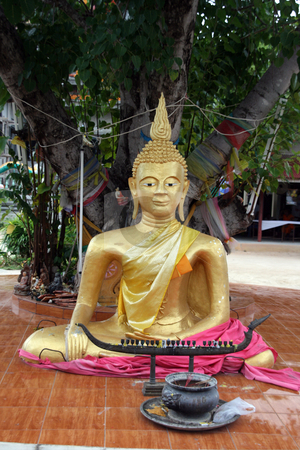 GoldBuddha stock photo, Gold Buddha at Wat Pai Laem temple in samui island thailand by EVANGELOS THOMAIDIS