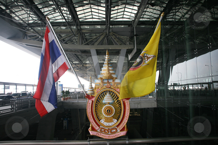 Flags of thailand stock photo, Flags of thailand at bangkok airport by EVANGELOS THOMAIDIS