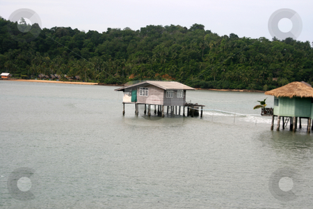 Floating house stock photo, Floating vilage and bungalows in koh chang island thailand by EVANGELOS THOMAIDIS