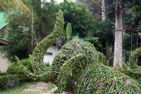 Garden art elephant stock photo, Plant sculptures in thailand by EVANGELOS THOMAIDIS
