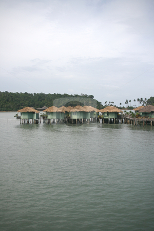 Floating bungalows 2 stock photo, Floating resort over the sea in koh chang island thailand by EVANGELOS THOMAIDIS