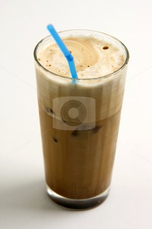 Frapecoffee stock photo, A glass of nice greek way ice coffee frape with milk by EVANGELOS THOMAIDIS