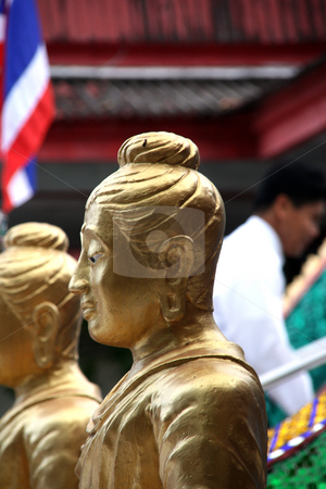 Golden monk statue stock photo, Golden monk statue at big buddha temple samui island thailand by EVANGELOS THOMAIDIS
