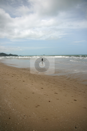 Man walking stock photo, Man walking on white sand beach koh chang island thailand by EVANGELOS THOMAIDIS
