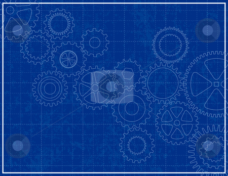 Blueprint Background with cogs stock vector clipart, Blueprint Background with cogs by Adrian Sawvel
