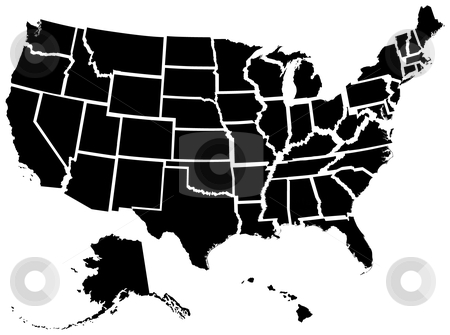 US 50 States stock vector clipart, Very detailed vector file of all fifty states. Each state is grouped individually and labeled in the layers palette. by Adrian Sawvel