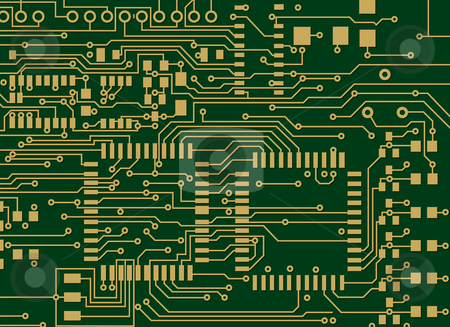 Circuit Board stock vector clipart, Green and Gold Circuit Board by Adrian Sawvel