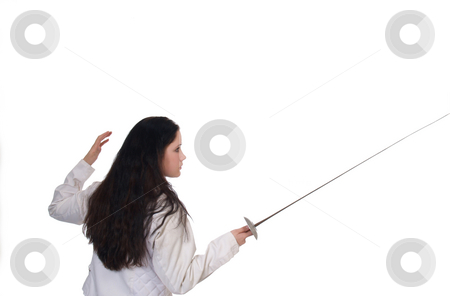 Woman fencing stance stock photo, Young woman in fencing stance with jacket and foil by Jeff Cleveland