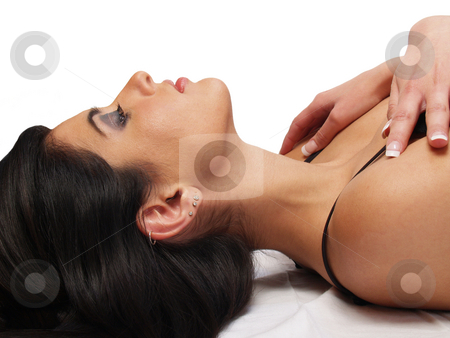 Woman middle eastern stock photo, Young woman profile portrait middle eastern pretty reclining by Jeff Cleveland