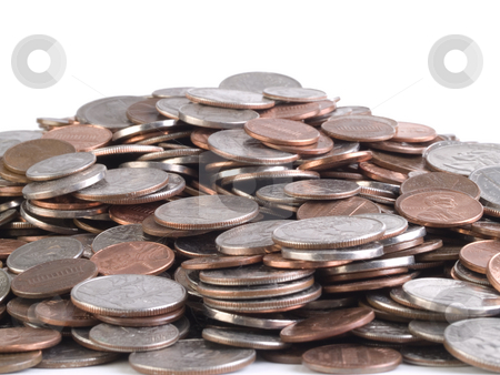 Mountain of US Coins of various denominations stock photo, Pile of US Coins of various denominations by Jeff Cleveland