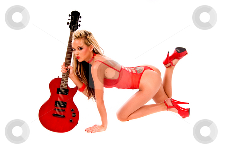 Rock N Roll Lingerie stock photo, Sexy young blonde lingerie model in a red one piece and red high heels with a red Les Paul style electric guitar by Robert Deal