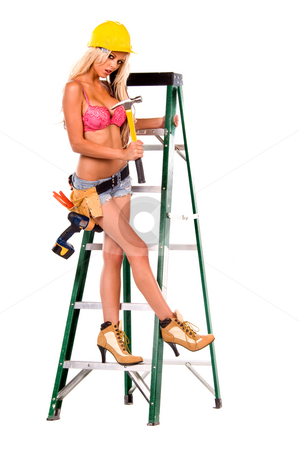 Sexy Construction Worker stock photo, High fashion glamour model in daisy duke shorts, tool belt, pink bra and yellow hard hat on a green ladder by Robert Deal