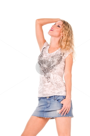 Happy blond woman. stock photo, Blond woman wearing a short denim skirt and casual t-shirt. by Robert Deal