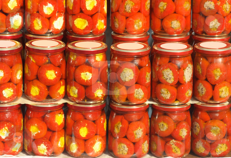 Canned peppers stock photo, Set of glass jars with canned pepper in vinegar by Natalia Macheda