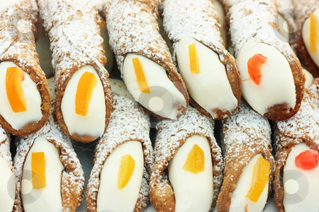 Cannolo siciliano stock photo, Cannolo siciliano, typical sicilian sweet that is waffle pastry filled with ricotta-cream by Natalia Macheda