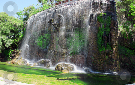 Watrefall stock photo, Watrefall in a park of Nice, France. Photo is a panorama of six photos by Natalia Macheda