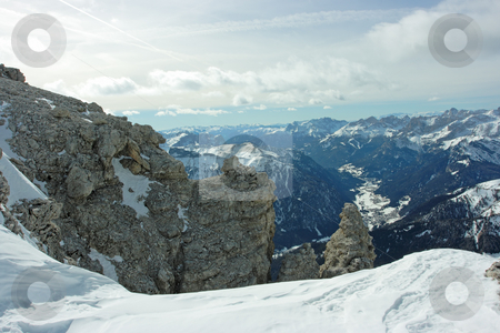 Dolomites stock photo, Dolomites landscape. View from 3000m above the sea level by Natalia Macheda