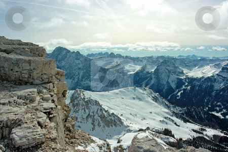 Dolomites stock photo, Dolomites range voew from 3000m over the sea level by Natalia Macheda