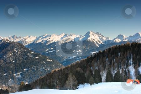 Dolomites range stock photo, Ski trace fragment with wonderful view on Dolomites' range by Natalia Macheda