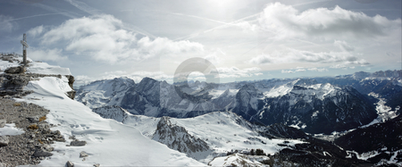 Dolomites panorama stock photo, Panorama of Dolomites range. View from the point at 3000m over sea level. Photo is made of six photos by Natalia Macheda