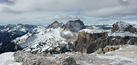 Dolomites panorama stock photo, Panorama of Dolomites range. View from the point of 3000m. Photo made of two photos by Natalia Macheda