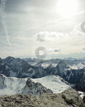Dolomites stock photo, Vertical panorama of sky over Dolomites. View from 3000m over the sea level by Natalia Macheda