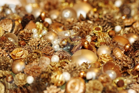 Festive treasure stock photo, Shining treasures for decoration of Christmas-tree. Shallow DOF by Natalia Macheda