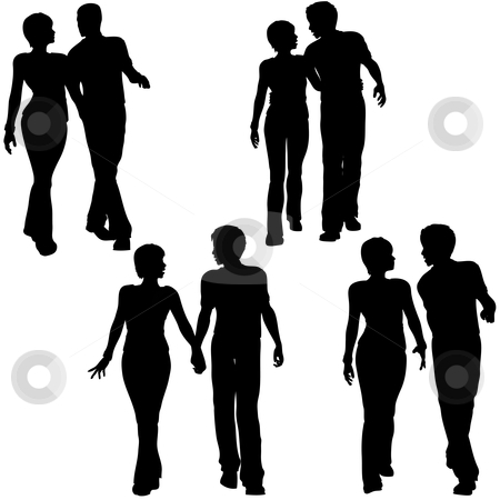 Man Woman Couple Walk Silhouettes stock vector clipart, Collection of 4 silhouettes of young couples - men and women - walking together. Arm in arm, holding hands. by Michael Brown