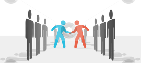 People on Two Sides Agree to Deal Shake Hands stock vector clipart, Two leaders step from sides lines of people or companies to join in a handshake & agree to cooperate. by Michael Brown