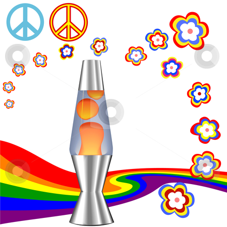 Psychedelic 60's 70's Hippie Kit with Lava Lamp stock vector clipart, A psychedelic 60's 70's Hippie Kit with red orange lava lamp & retro flower power rainbow elements. by Michael Brown