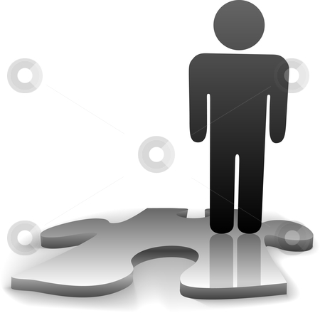 Solution Symbol Person on Missing Jigsaw Puzzle Piece stock vector clipart, A symbol person stands on the jigsaw puzzle piece needed to complete the solution to a problem or answer to a question. by Michael Brown