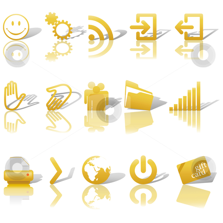 Web Gold Icons Set Shadows & Relections on White 2 stock vector clipart, Gold Icon Symbol Set 2: Printer; Gears; Chart; Earth; People; RSS; etc. On white with shadows & reflections. by Michael Brown