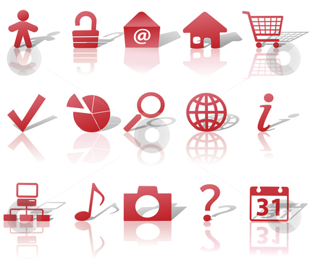 Web Red Icons Set Shadows & Relections on White  stock vector clipart, Red Icon Symbol Set: Globe Security Question Email People, etc. On white with shadows & reflections. by Michael Brown