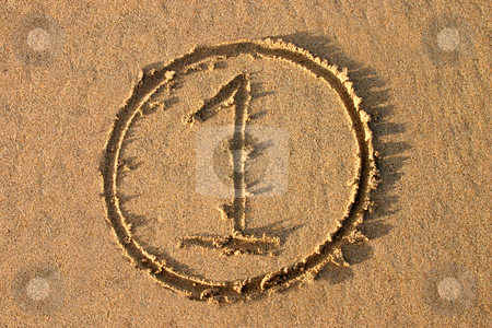 The number 1 written on the beach.  Part of a countdown series. stock photo, The number 1 written on the beach.  Part of a countdown series. by Stephen Rees