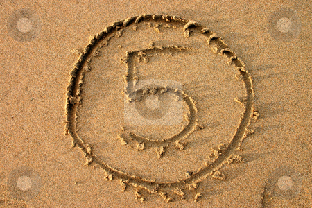 The number 5 written on the beach.  Part of a countdown series. stock photo, The number 5 written on the beach.  Part of a countdown series. by Stephen Rees