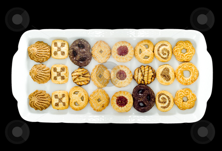 Teacake stock photo, A white tray with an assortment of different kinds of teacakes by Petr Koudelka
