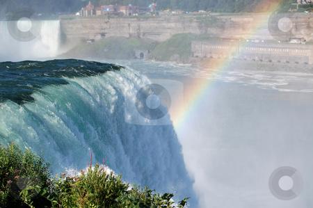 Niagara Falls Waterfall stock photo, Close up of Niagara Falls waterfall, with rainbow to the right. by Crystal Srock